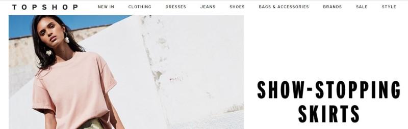 topshop, tiendas online como asos